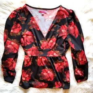 Betsey Johnson Bell Sleeve Blouse/Floral Print